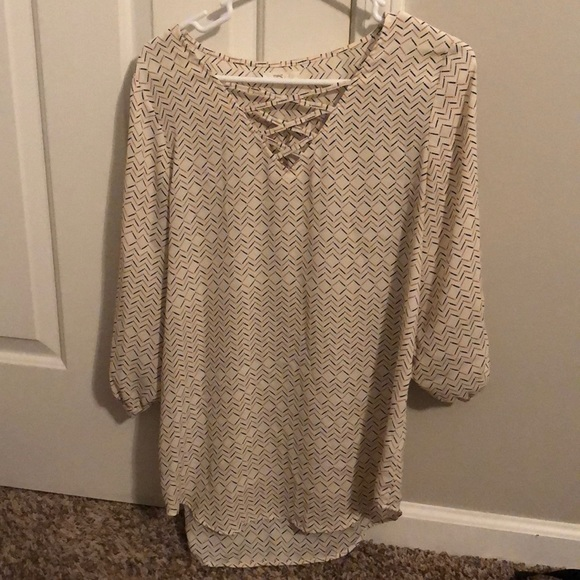 Maurices Tops - White/pink/black tunic top